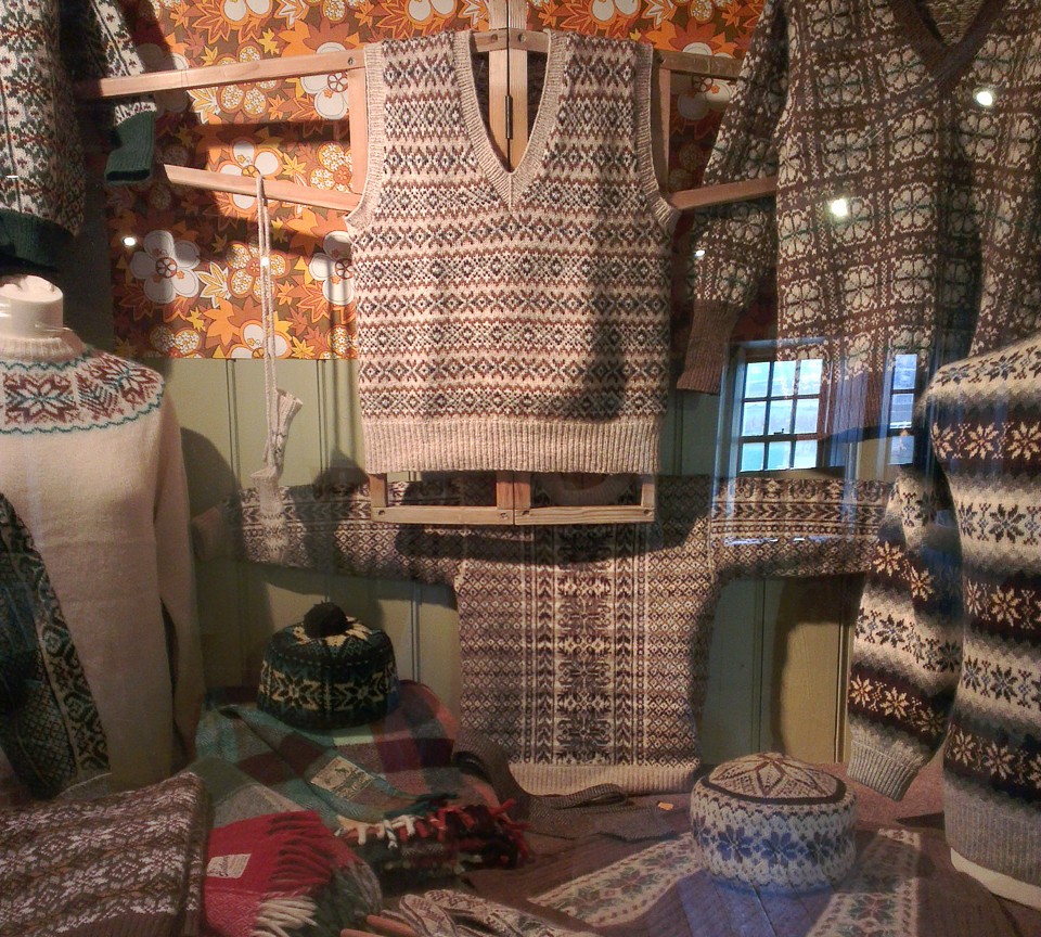 A glimpse of some of the knitwear in the exhibition curated by Ella for the Shetland Textile Museum in 2014