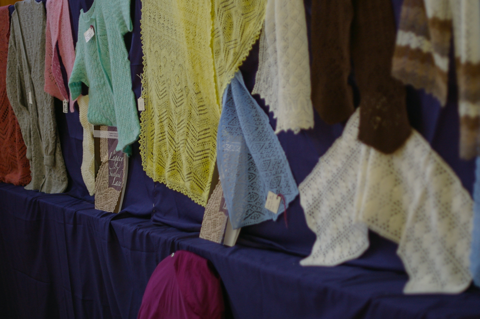 A Legacy of Shetland Lace - some of the sample garments on display at the Sunday Teas