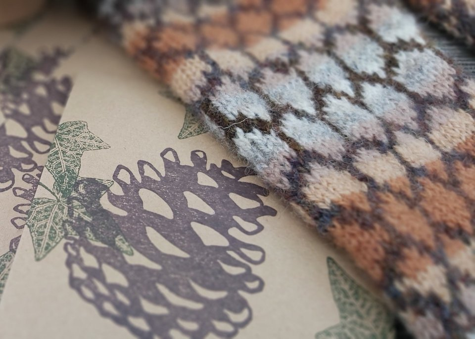 Pinecone rubber stamp and Pinecone armwarmers