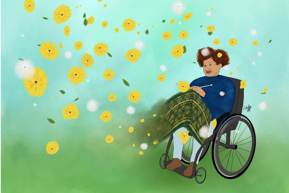 A disabled knitter sits in a stylish, self-propelled wheelchair, knitting a complex stranded colourwork blanket based on dandelions. As she knits, Dandelions from the ground around her feet are caught in the wind and fly up all around her