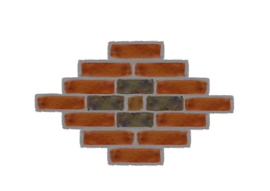 Diamond pattern of bricks; a central diamond created from grey bricks, encircled by an outer diamond of red bricks
