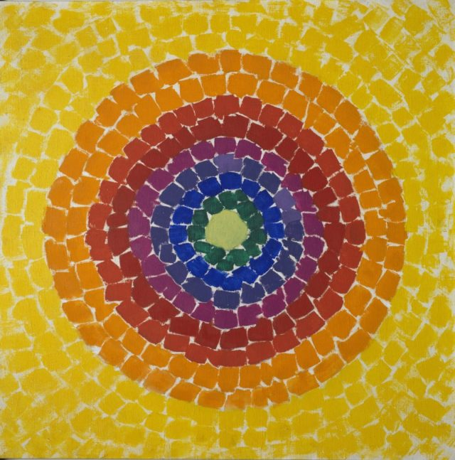 Resurrection - a beautiful painting by Alma Thomas, in which concentric circles of luminous colours are arranged in disciplined yet organic brushstrokes around a glowing centre