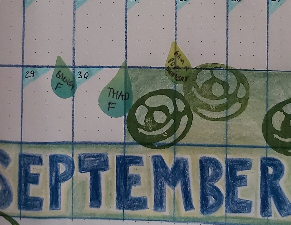 SEPTEMBER in new Bullet Journal, all laid out in very soft greeny-blue shades