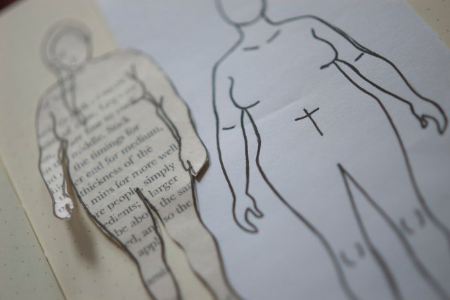The little drawings of me from the MyBodyModel app and also made from a tracing of a photo, mounted on card