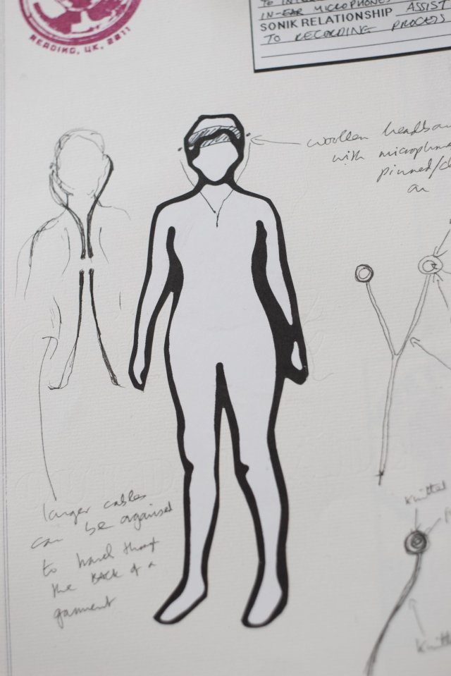 "little drawing of a person, created as a kind of ""neutral"" croquis with which to visualise the development of the KNITSONIK handknits collection... this figure is surrounded by drawings of microphone cables"