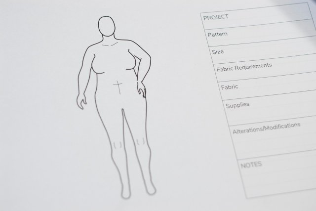 MyBodyModel Felix outlined in black ink, with a small box beside me to the right, bearing spaces for key outfit/garment information