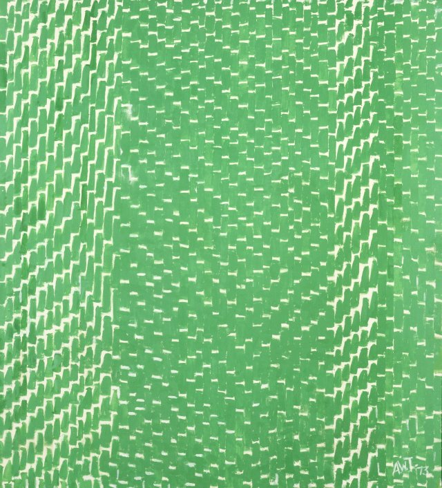 Spring Grass, 1973, by Alma Thomas; abstract green brushmarks describe the geometry and chaotic patterning of blades of grass