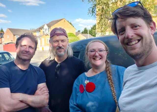 The crew from left to right: Ali (sound), Robin (cinematographer), Felix and Ollie (lens whisperer and drone operator) all beaming at the end of a long day of filming.