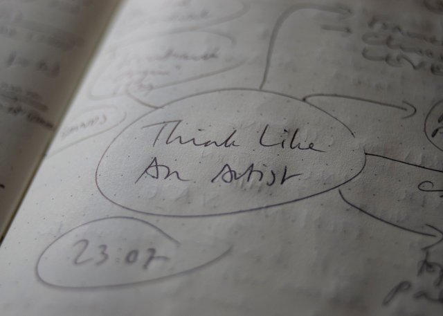 Think Like An Artist - scruffy bubble diagram in my bullet journal with all important thoughts artistically blurred through a judicious use of shallow depth of field.