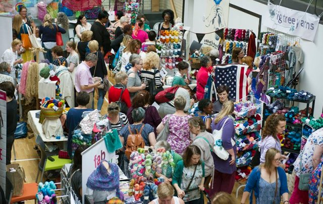 Yarningham Day - a birds-eye view of the incredibly busy stands and stalls at a recent Yarningham event