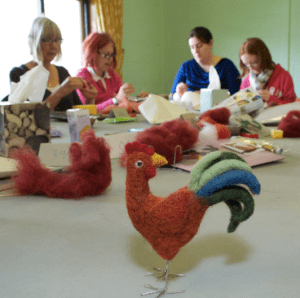 Making needle felted chickens