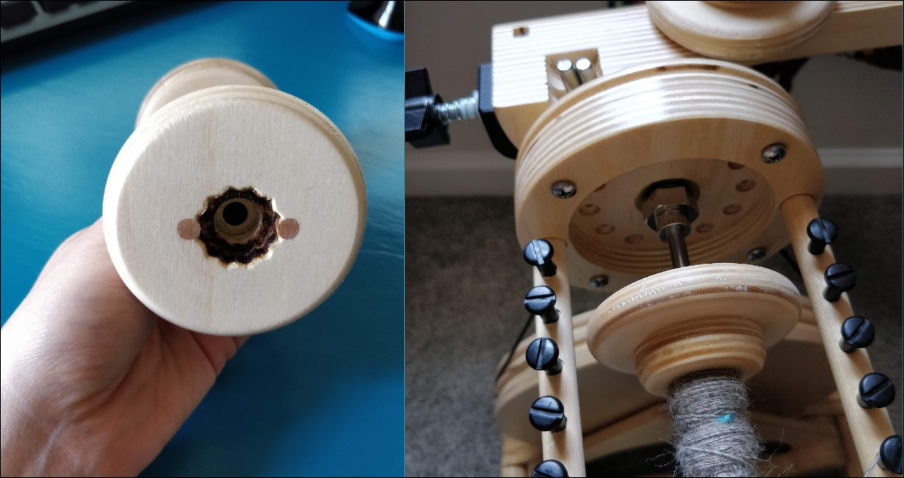 Double picture showing the back of the bobbin with the star-shaped cutout, and the back of the flyer with the magnet and hex nut.