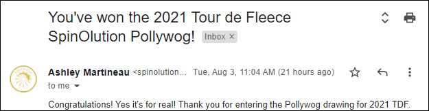 Screenshot of an email from Spinolution Wheels telling me that I've won the 2021 Tour de Fleece Pollywog giveaway