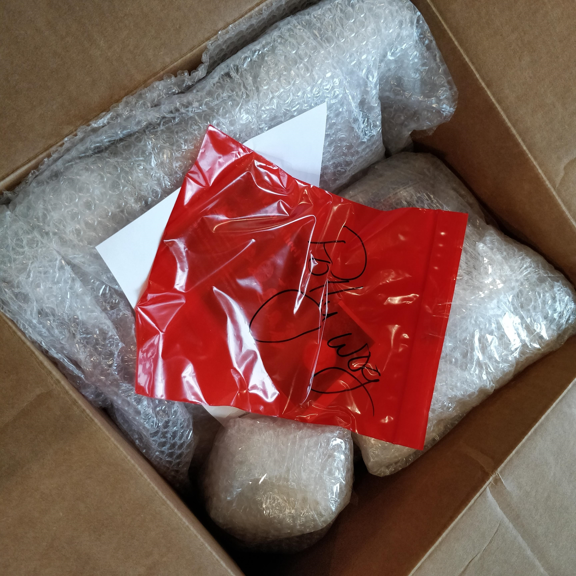 """Looking into a cardboard box. There are several bubble-wrapped items and a red plastic bag, on which """"Pollywog"""" is written in black marker"""