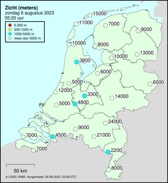 Weerkaart zicht Nederland KNMI