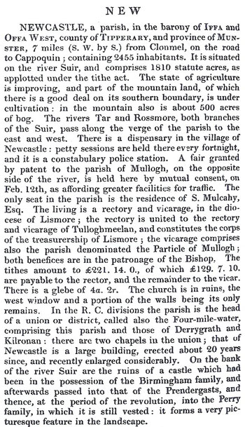 Newcastle in Samuel Lewis' 1837 Topical Dictionary of Ireland