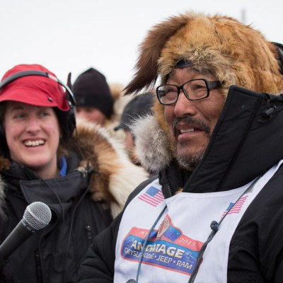 Mike Williams Sr. speaking to KNOM during 2013 Iditarod sled dog race. Photo Credit: KNOM (2013)