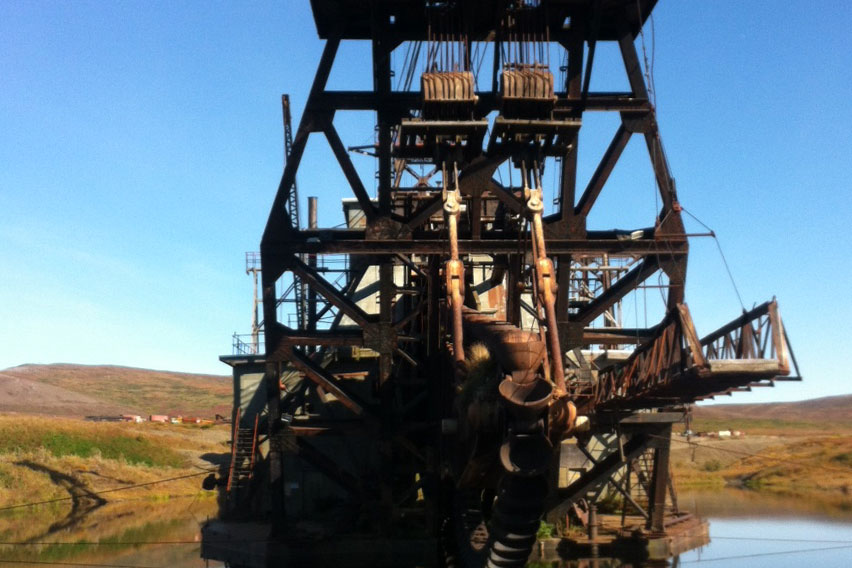 Gold mining dredge near Nome, Alaska