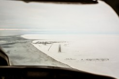 The approach to Shishmaref from the plane