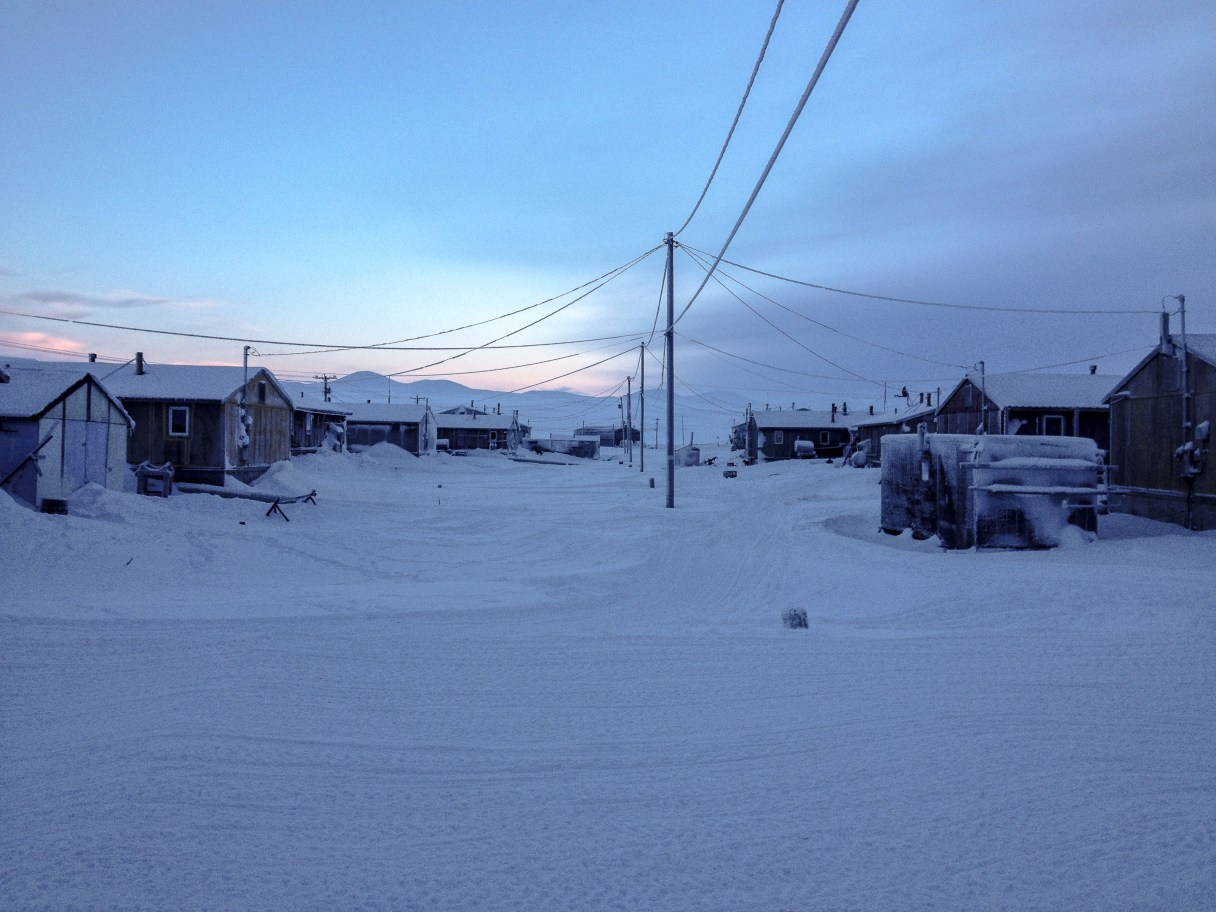 Savoonga, Alaska, in winter.