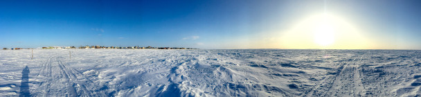 Nome, Alaska, from the frozen Bering Sea (full panorama)