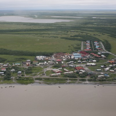 Flood waters recede in Emmonak in July 2013. Photo: Adam DuBrowa, FEMA.