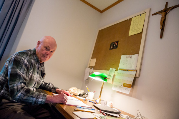 Father Vince Burns in his office