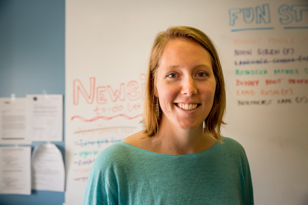Emily Russell in the KNOM newsroom