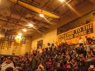 For the Heart of the Drums, drummers from more than two-dozen dance groups circled the gym and performed in unison. Photo: Laura Kraegel, KNOM.