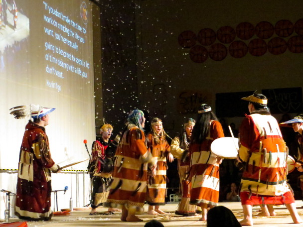 A performance by the Unangax Dancers, who perform dances from the Aleutian and Pribilof villages. (Photo: Maddie Winchester, KNOM)