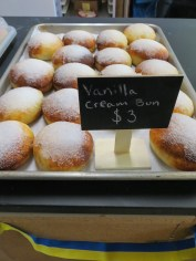 The vanilla cream-filled bun is a popular item at the bakery. (Photo: Maddie Winchester, KNOM)