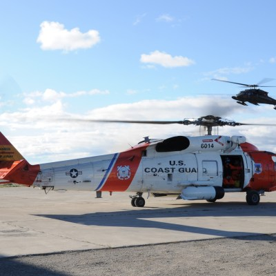 Coast Guard MH-60 Jayhawk rescue helicopter in Kotzebue