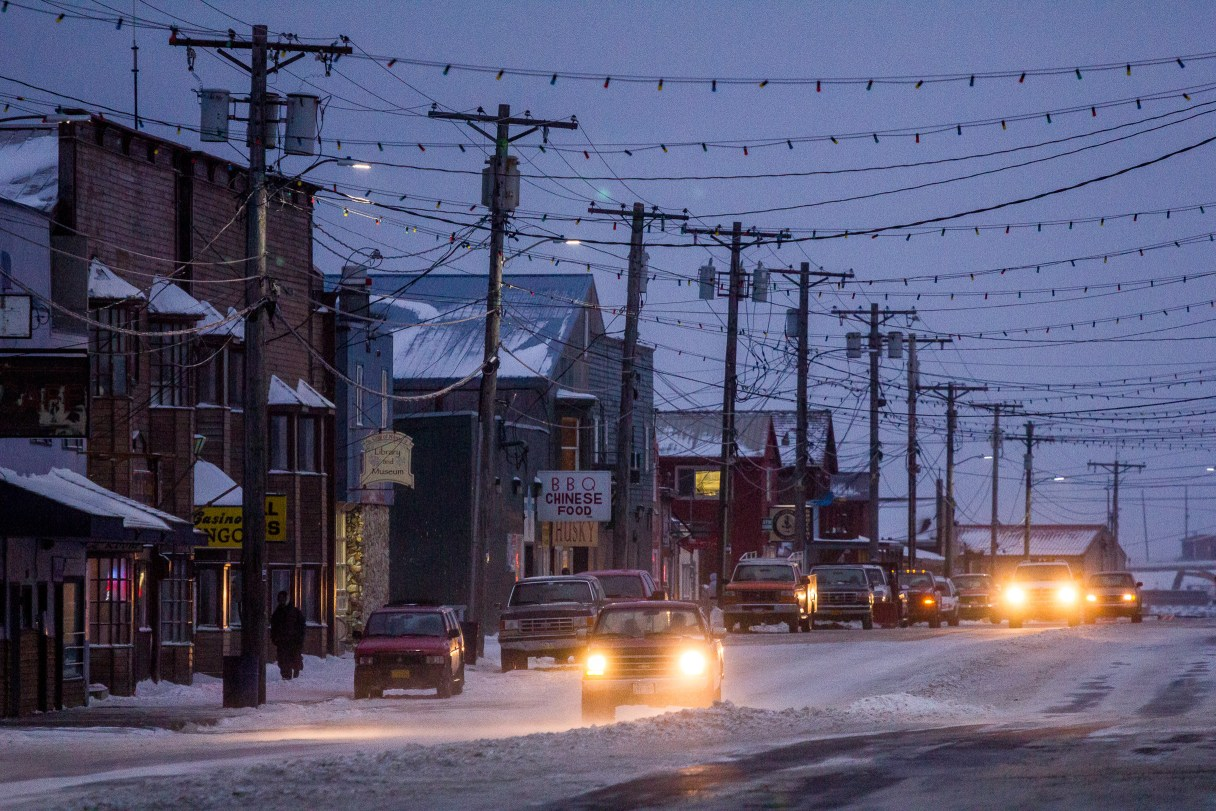Nome's Front Street on a wintry night