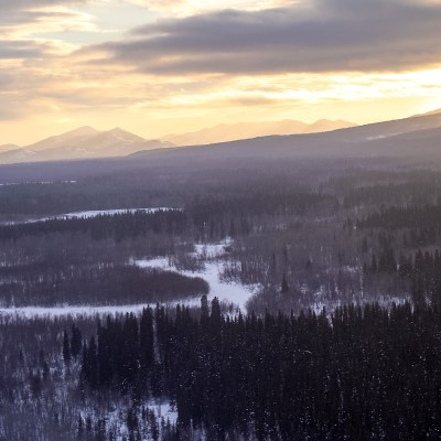 An aerial view of the wintry countryside near Kaltag, Alaska