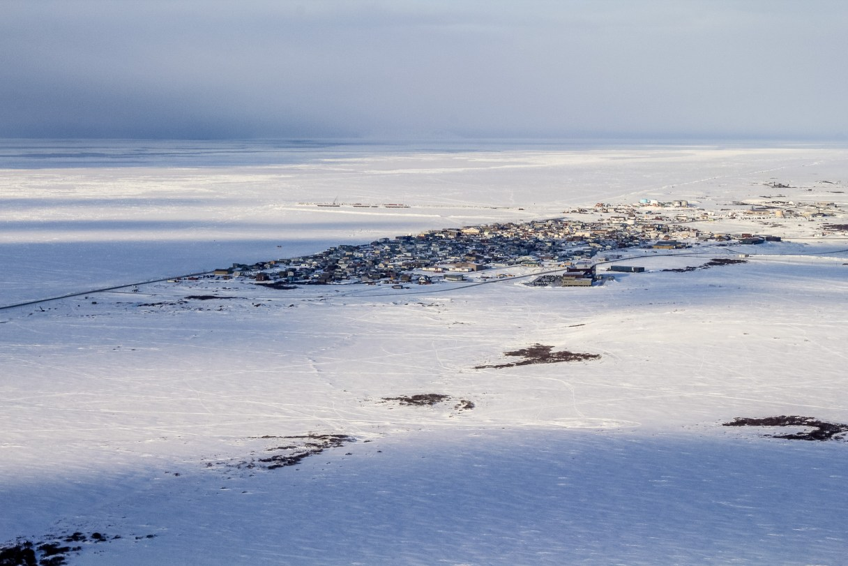 Aerial view of Nome in winter