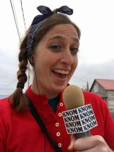 Zoe reports live from the Nome 4th of July parade. Photo: Grueskin/KNOM.