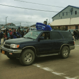 Lauren, Karen, and Zoe represent KNOM in Nome's 4th of July parade. Photo: KNOM.