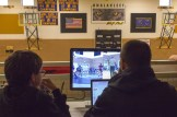 The BSSD Student Broadcast Team monitor their feed.
