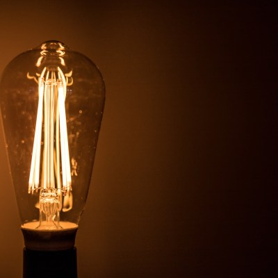 Close-up of an incandescent light bulb