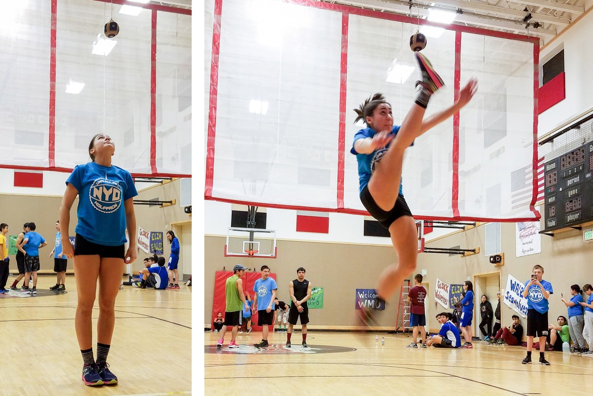 Side-by-side pictures of an NYO competitor preparing for, then executing, a one-foot high kick inside the St. Michael school gym.
