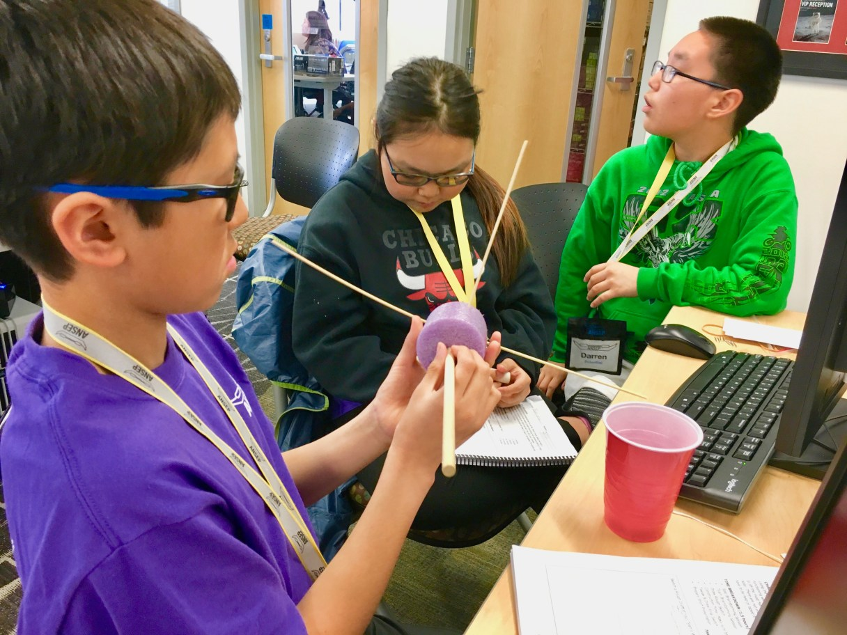 BSSD students work on an engineering project at the Alaska Native Science and Engineering Program Middle-School Academy (Photo: ANSEP, used with permission)