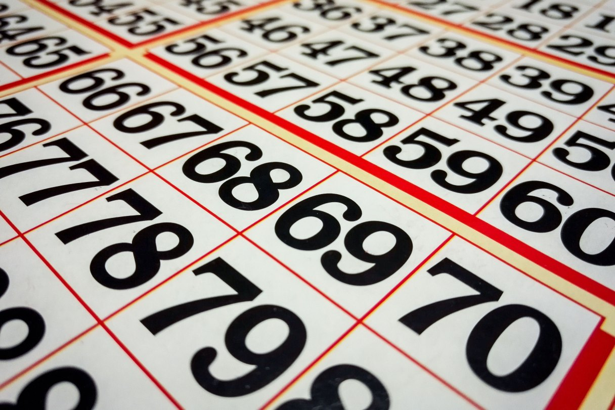 Close-up view of sheets of bingo numbers.
