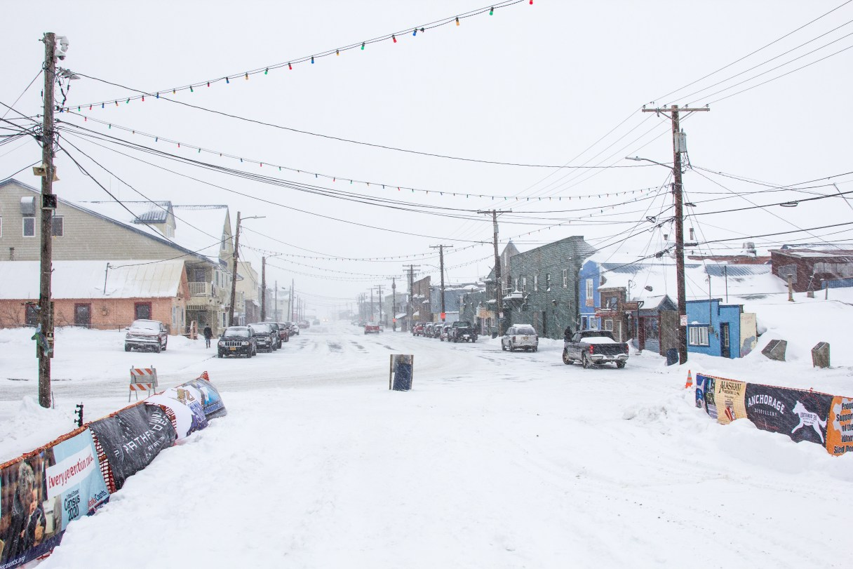 A picture of Front Street in Nome nearly without people during the 2020 Iditarod, when many stayed inside due to fears about contracting COVID-19.