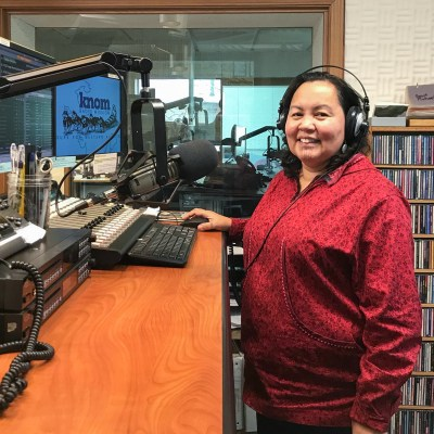 Igḷuġuq Okleasik is a Community Announcer for KNOM