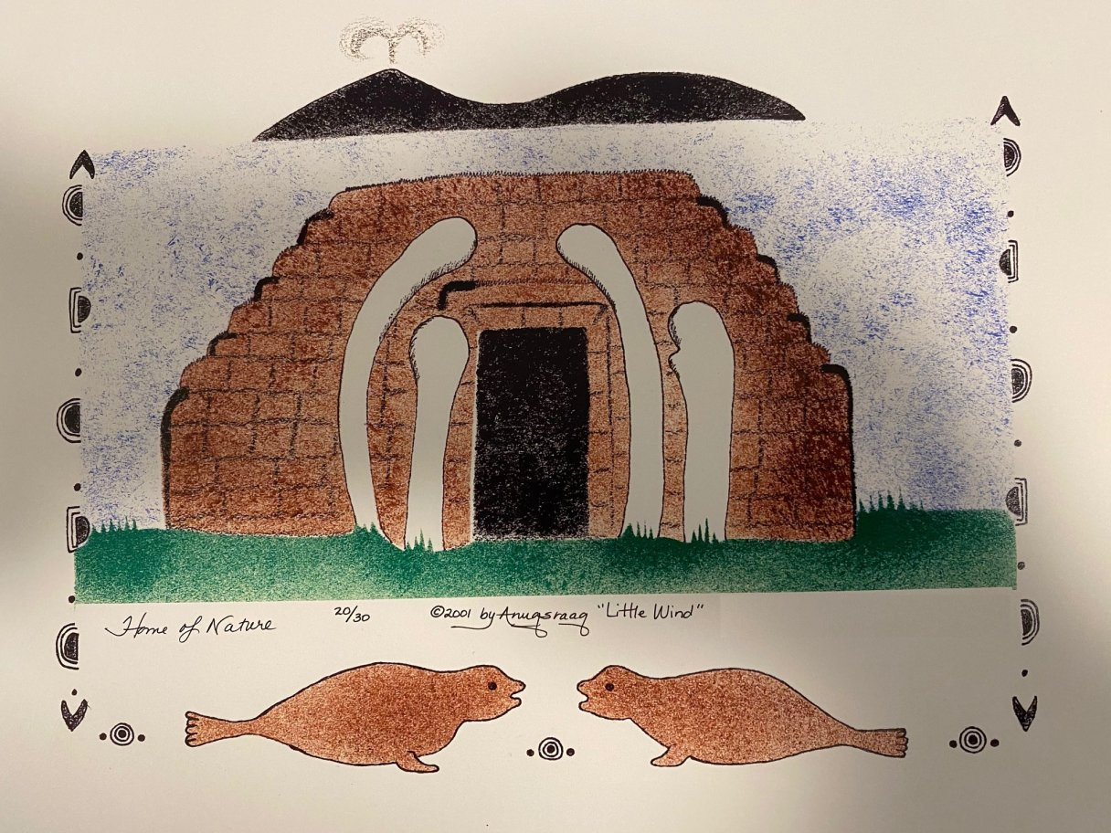 The drawing 'Home of Nature' By Mary Jane Anuqsraaq Litchard, from 2001.