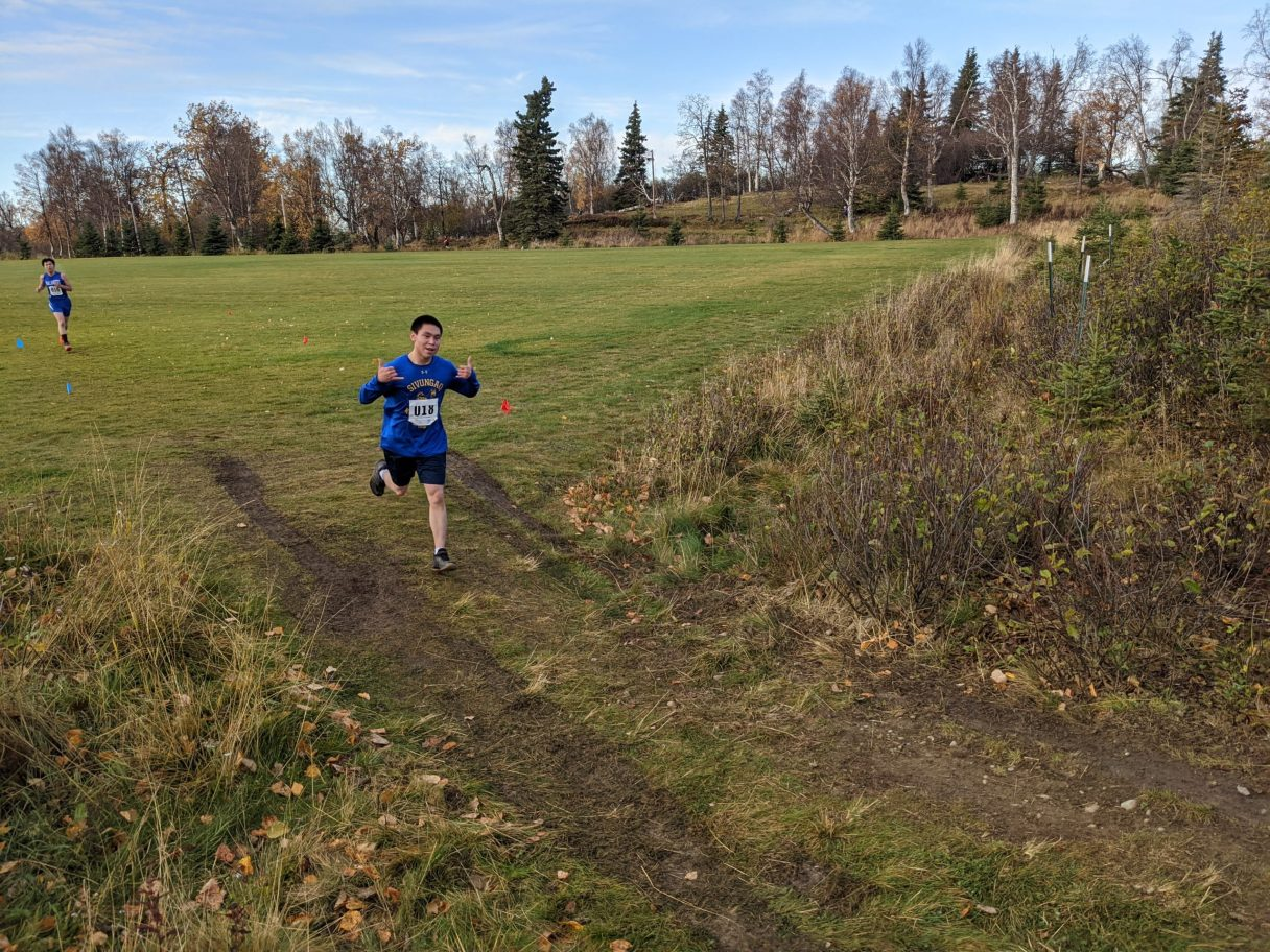Caelin Kingeekuk of Savoonga competes at the State Cross Country Championship in Anchorage. Photo from Cory Kralovetz, used with permission (2020).