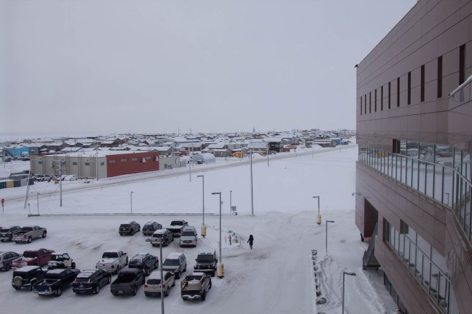 View of Nome from hospital in winter.