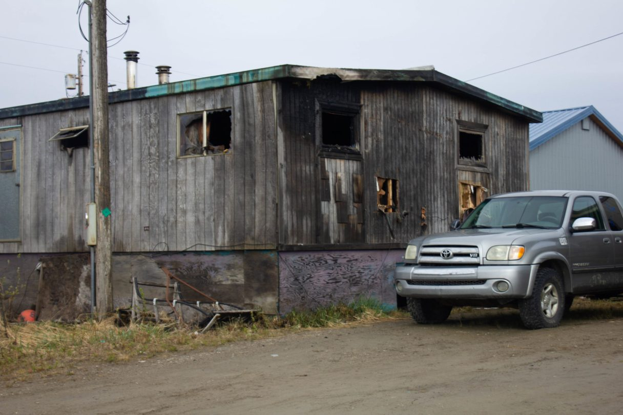 The trailer, located on E 3rd Ave, sustained burns from a fire. Photo taken by KNOM.