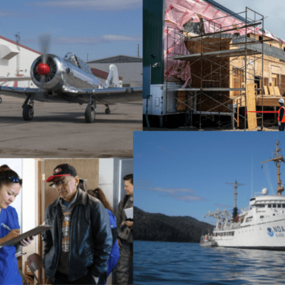 A collage of four images. A plane on the runway, a construction site, a physician holding a chart next to patient, and a ship on water.