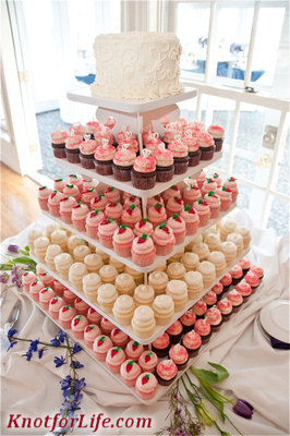 Cupcake wedding cakes PeachPink Cupcake Wedding Cake Knot For Life